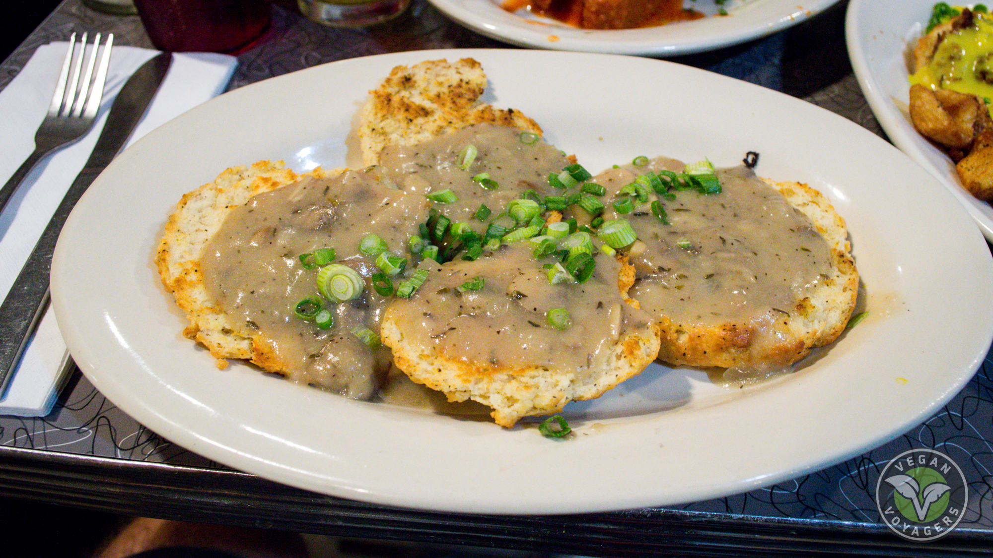 Vegan biscuits and gravy | Veggie Galaxy, Boston, MA